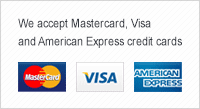 We accept Mastercard, Visa and American Express credit cards.